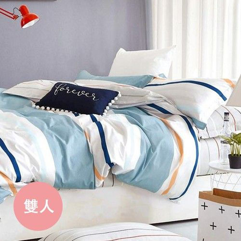 PureOne - 極致純棉寢具組-北美印象-藍-雙人三件式床包組