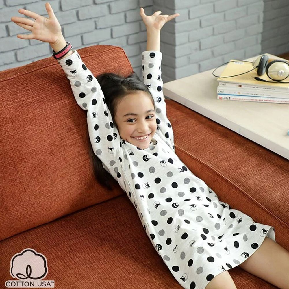 Annypepe - 女童點點貓細絨長袖居家洋裝-麻灰 (110-150cm)