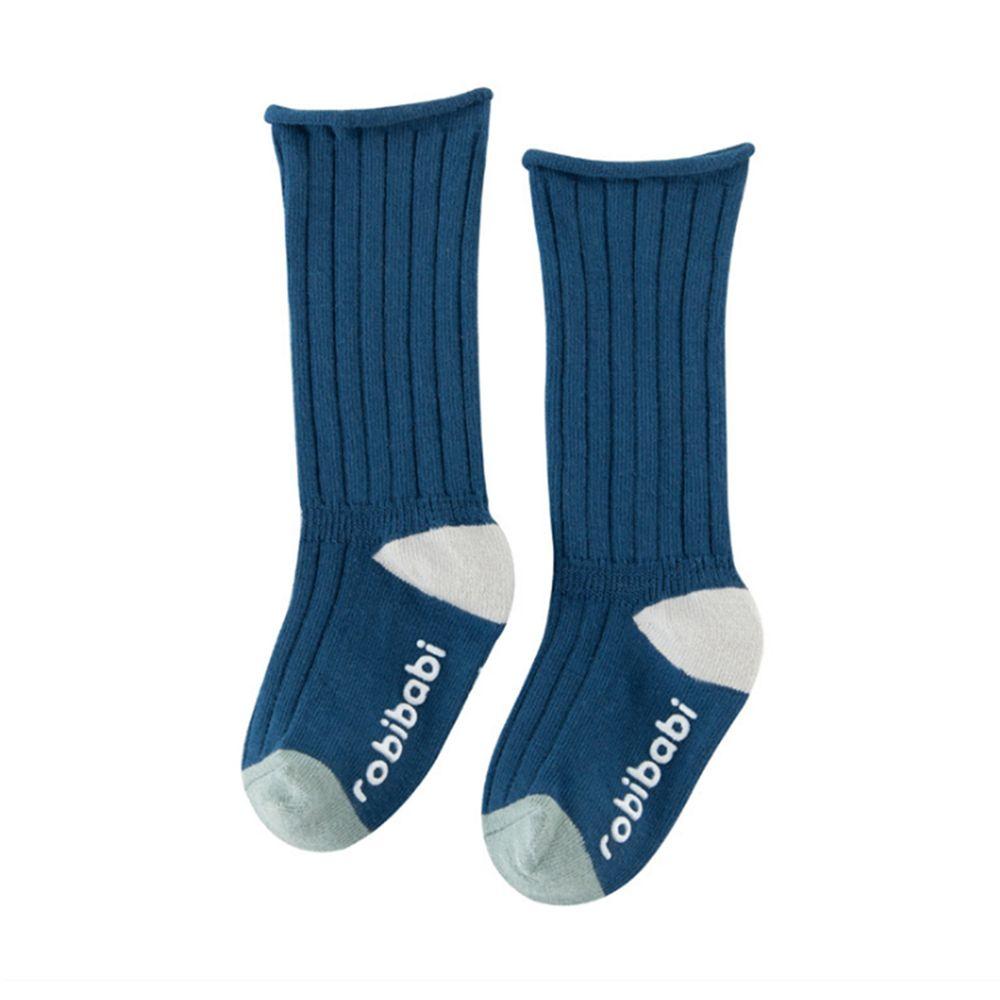 JoyNa - 簡約撞色 長筒鬆口薄襪(底部止滑)-寶藍色