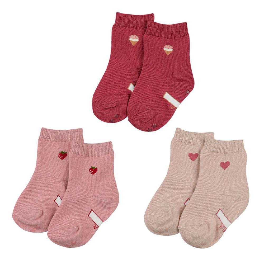 akachan honpo - 女中筒襪3雙組-小圖案-粉紅色 (9~14cm)
