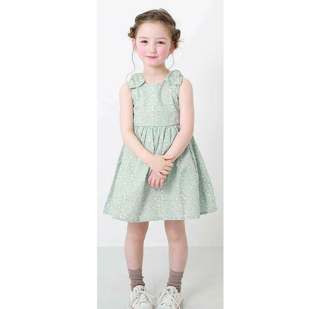 日本 devirock - 純棉雙肩蝴蝶結造型無袖洋裝/親子裝-薄荷小花