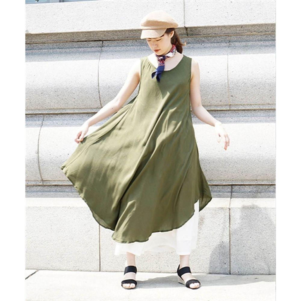 日本 zootie - 涼感不規則U型裙擺背心洋裝-橄欖綠 (Free)