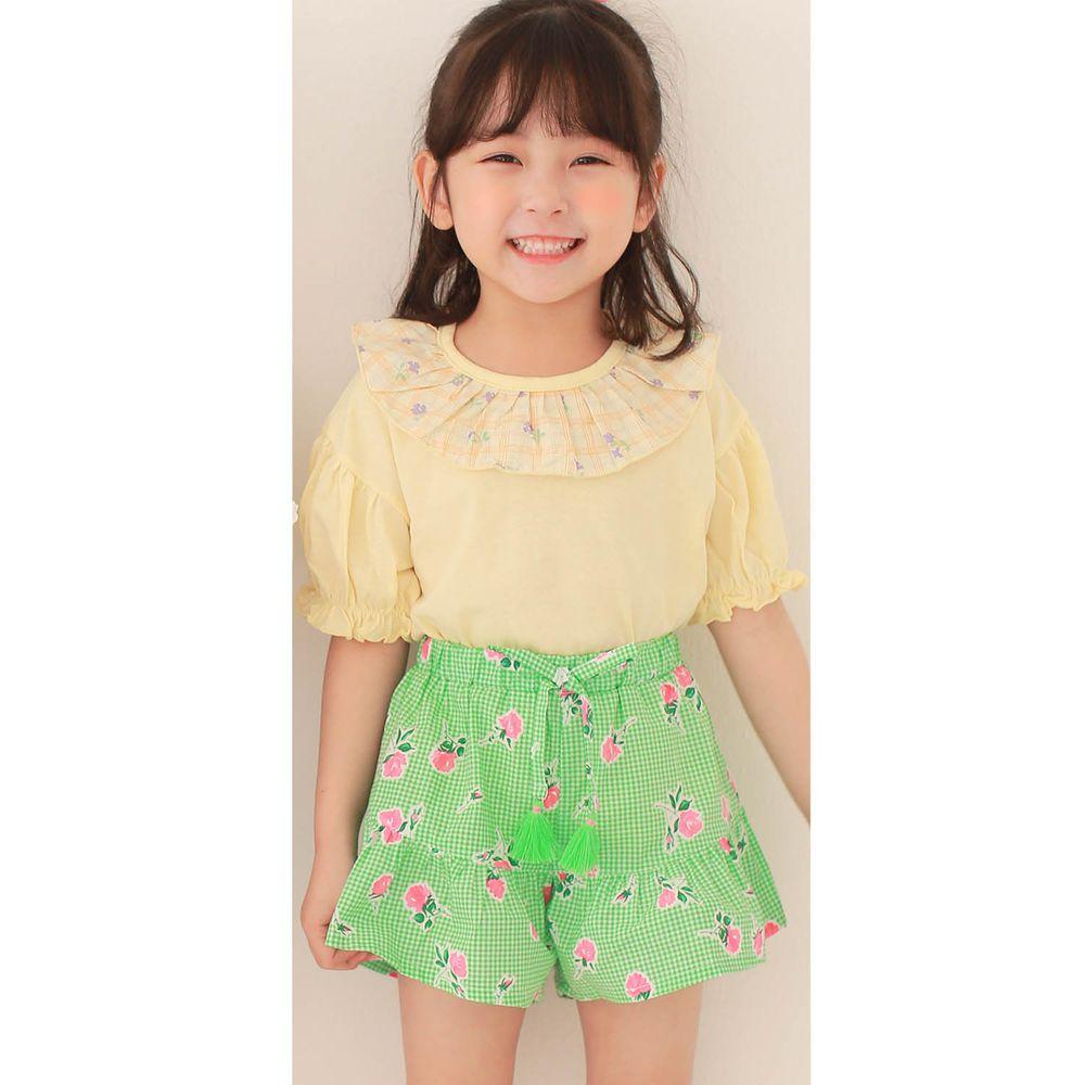 韓國 Dalla - 花花荷葉領上衣+格子花花褲裙套裝-鵝黃上衣+綠褲