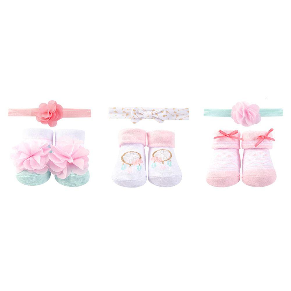 美國 Luvable Friends - 3入嬰幼兒髮飾+3入嬰兒襪/寶寶襪/初生襪禮盒組-粉色捕夢網 (0-9M)