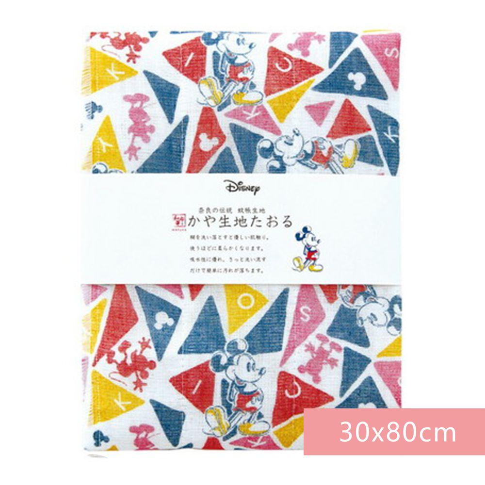 日本代購 - 【和布華】日本製奈良五重紗 長毛巾-彩色三角米奇 (30x80cm)