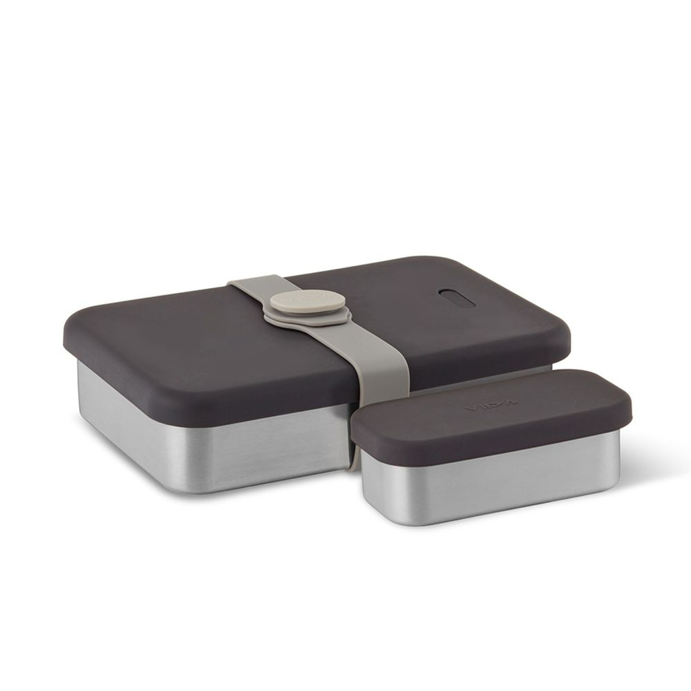 VIIDA - KASTEN便當盒-316抗菌不鏽鋼-黑 (1000ml+220ml)