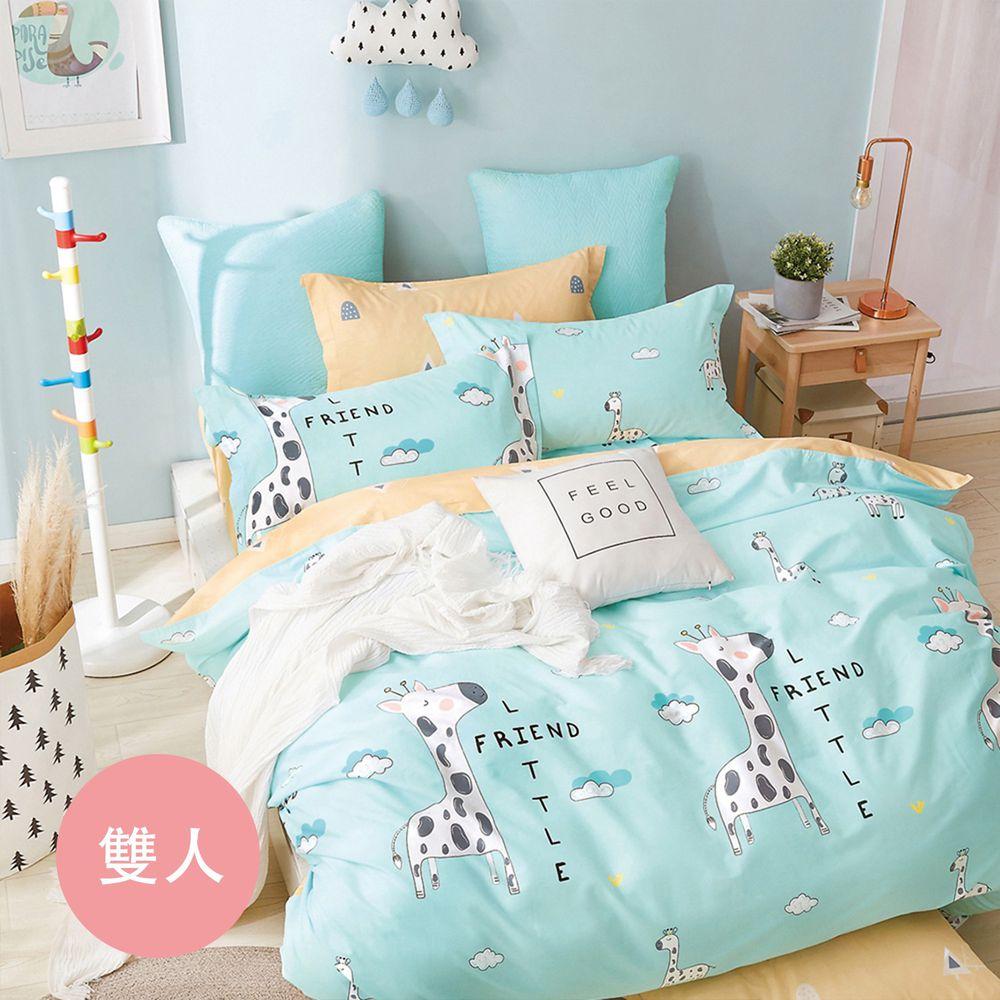 PureOne - 極致純棉寢具組-時光小鹿-雙人三件式床包組