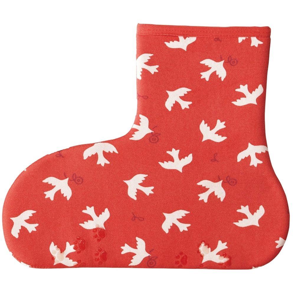 日本丸和 - 雙層機能裏起毛防滑室內襪-白鴿-粉 (21-25cm)-短筒