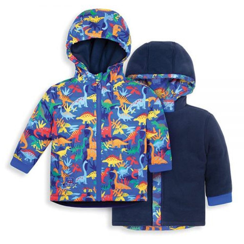 英國 JoJo Maman BeBe - 雙面穿羊毛襯裡防雨保暖連帽外套-恐龍玩耍