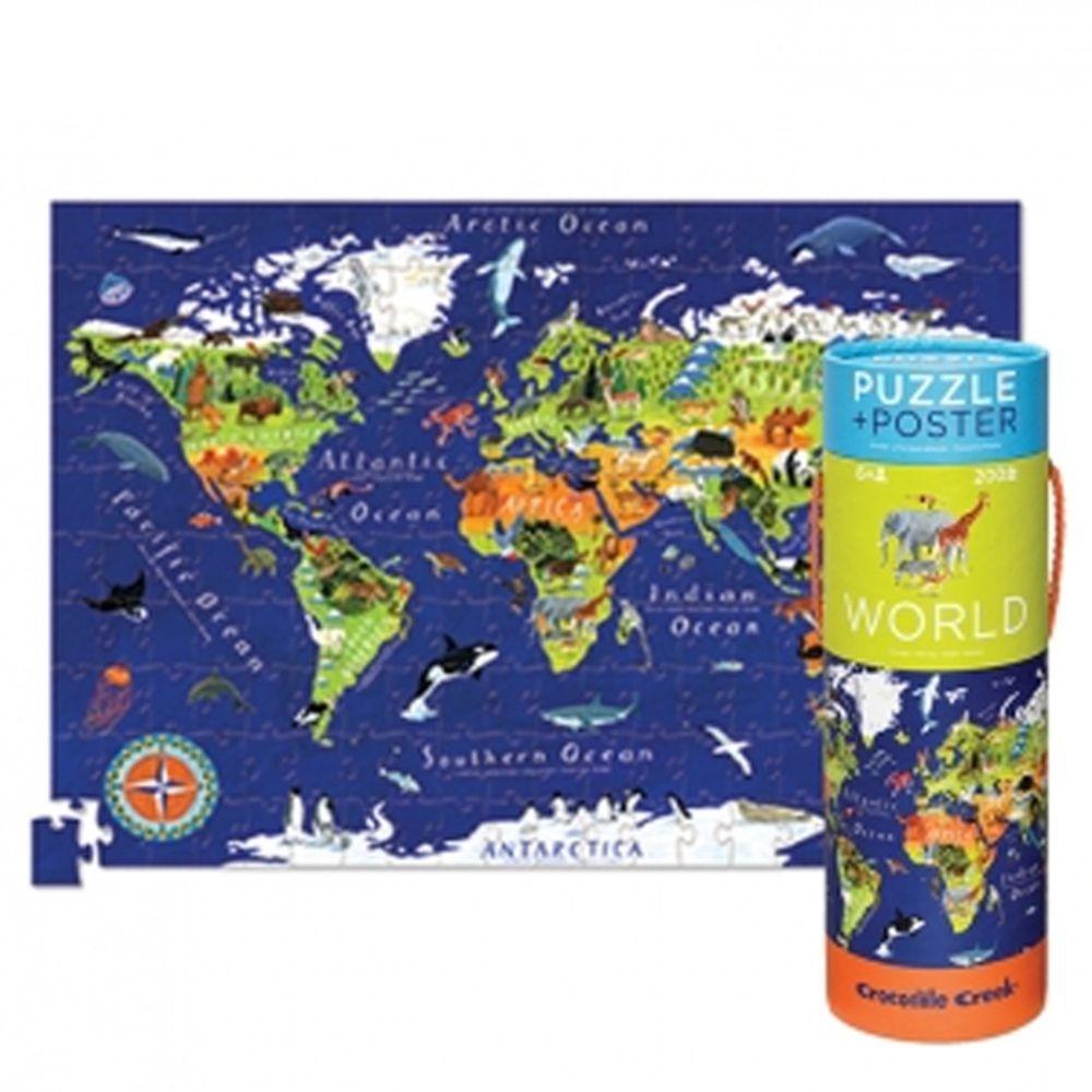 Crocodile Creek - 2合1海報拼圖系列-世界地圖 (200片)-6歲以上