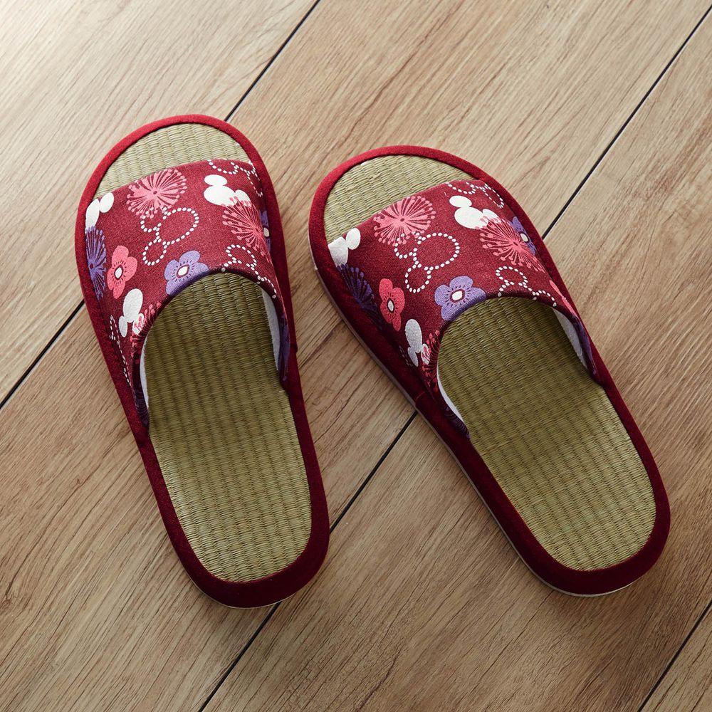 日本千趣會 - 迪士尼涼感草編室內拖-米奇花火-酒紅