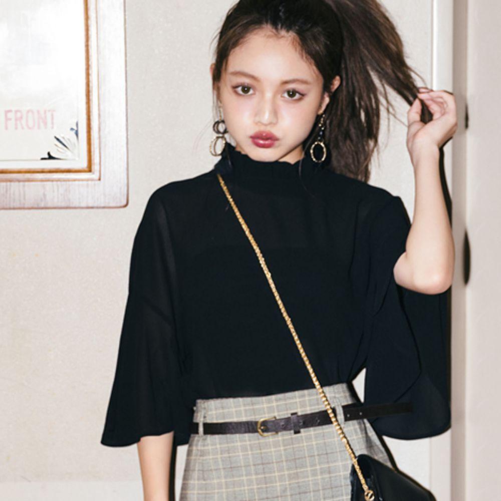 日本 GRL - 顯瘦垂墜七分袖上衣-黑