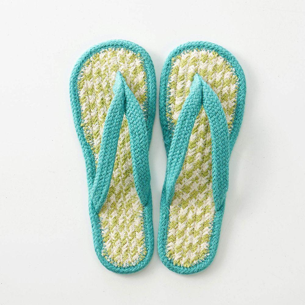 日本千趣會 - 印度棉編織夾腳室內拖-黃綠系