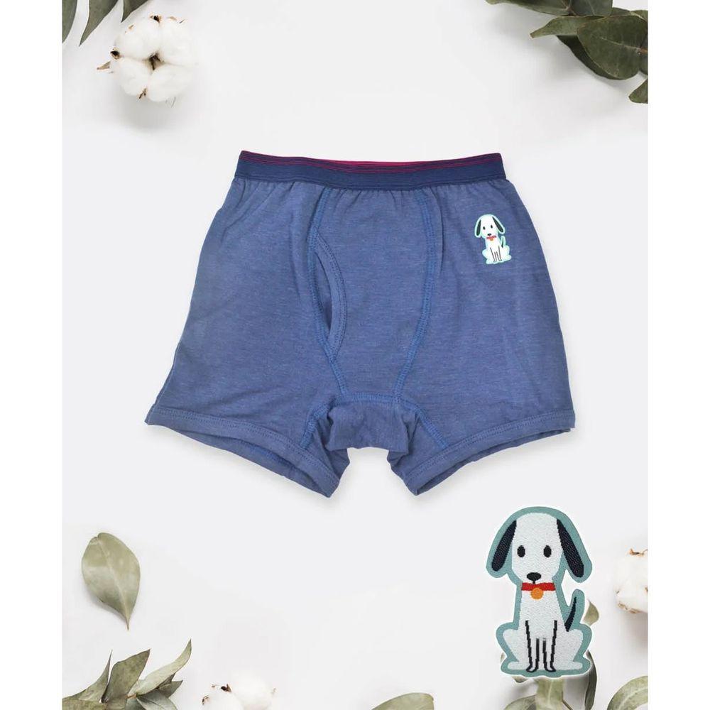 貝柔 Peilou - 天絲棉舒膚平衡童男平口褲-貼布繡-小狗-藍