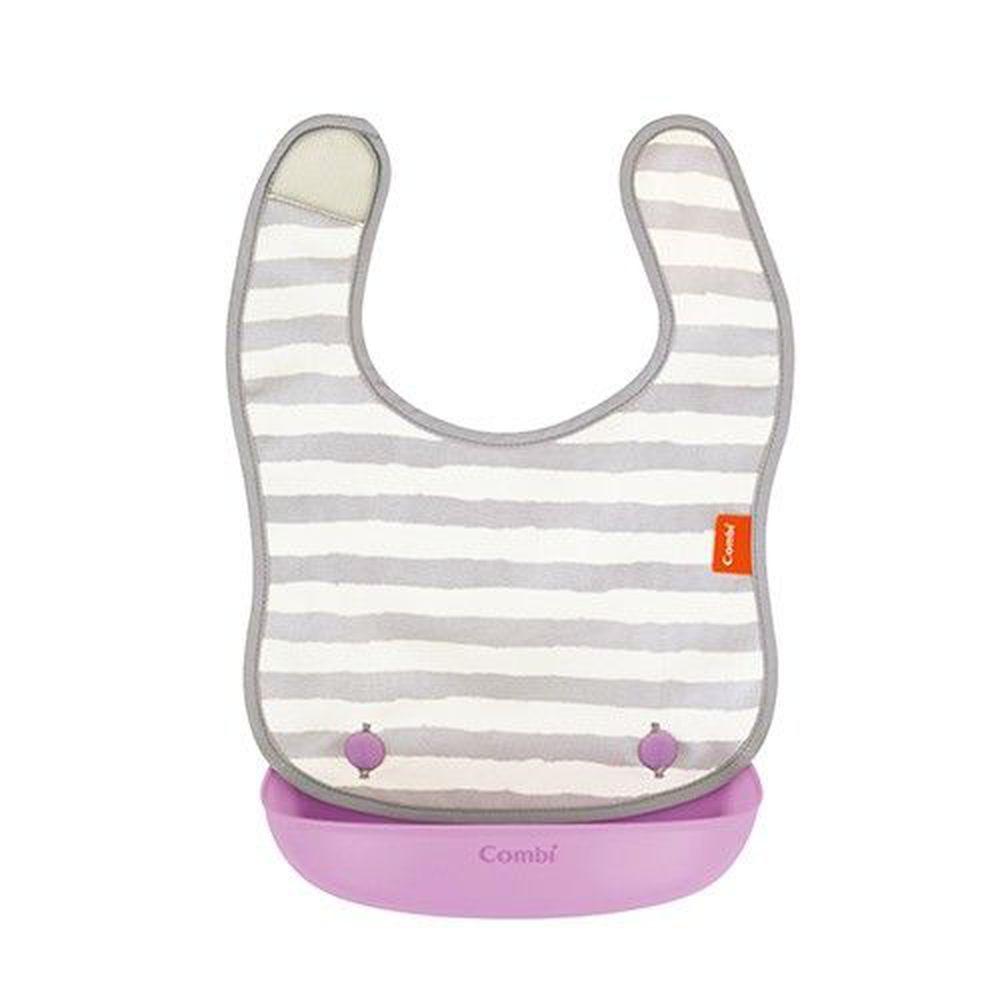 日本 Combi - 新防污口袋圍兜-紫斑馬