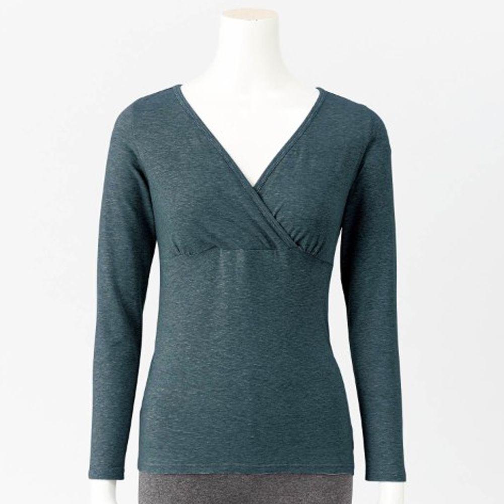 日本千趣會 - 95%棉 (孕哺)交叉V領哺乳發熱衣-深灰