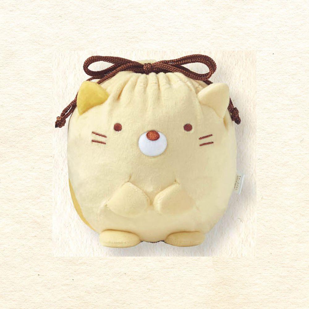 日本千趣會 - 角落生物 彈性伸縮球型束口收納袋-貓咪-黃 (M(最大約22x13x17cm))