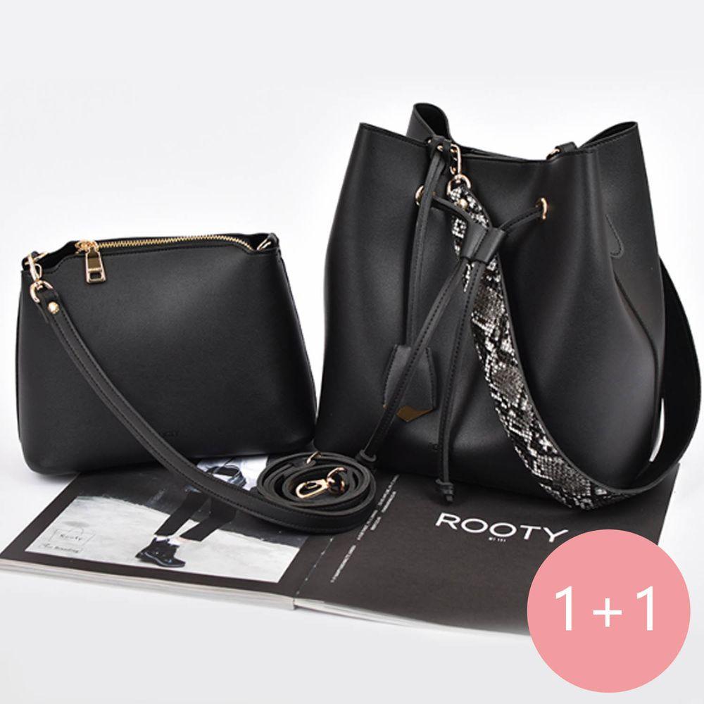 韓國 Rooty - 大小Set蛇紋背帶氣質水桶包-尊爵黑 (大包26*16*27cm)