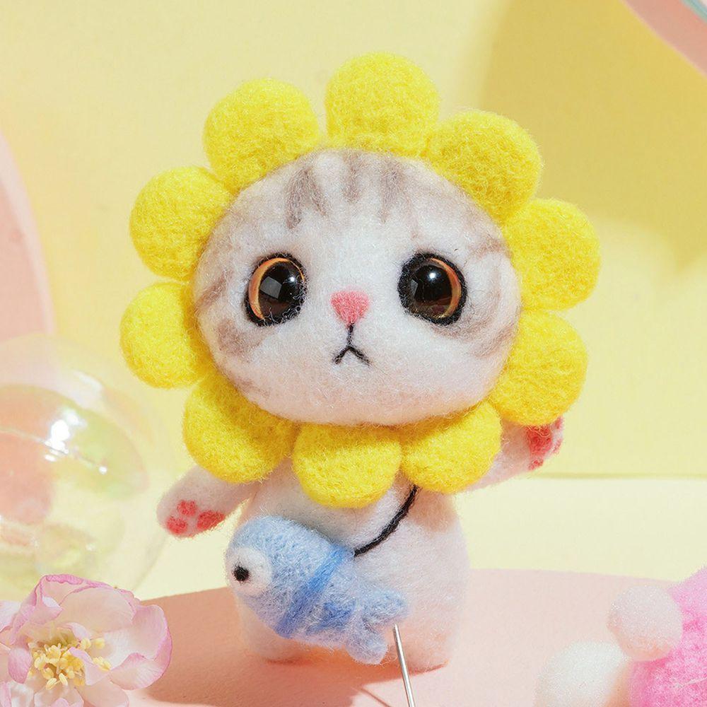 Diy療癒貓咪羊毛氈戳戳樂材料包-太陽花貓咪