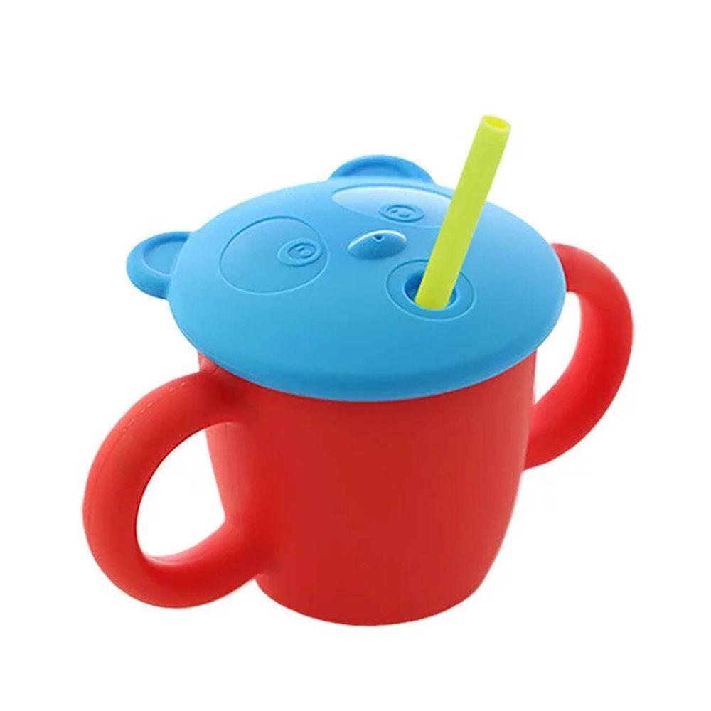 韓國 sillymann - 100%鉑金矽膠 兒童專用雙手握把喝水學習杯(220ml)-石榴紅