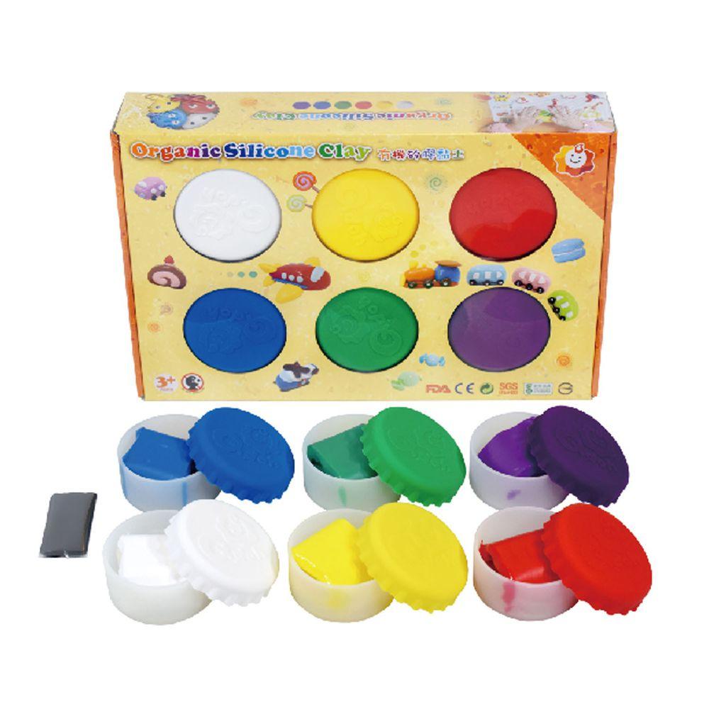 Q-doh - 魔法定型有機矽膠黏土 6色補充盒 (基礎色)-6色/各35g,附贈黑色矽膠黏土5g,透明定型矽膠黏土20g