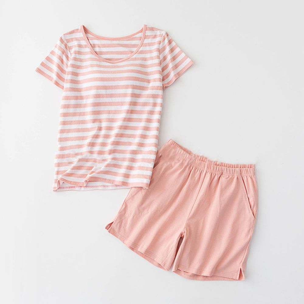 棉質柔軟涼感Bra T家居服-短褲套裝-粉白條紋