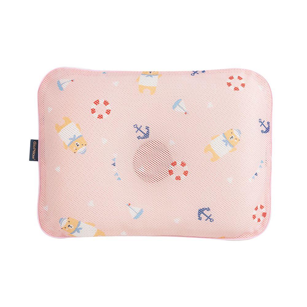 韓國 GIO Pillow - 超透氣護頭型嬰兒枕/防扁頭枕/防蟎枕-單枕套組-水手熊粉 - S/M