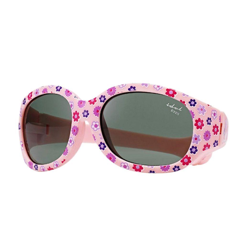 Idol EYES - 兒童太陽眼鏡-優雅小花系列Flowers-粉紅底小花 (2-5歲兒童款)-有可拆式鬆緊頭帶