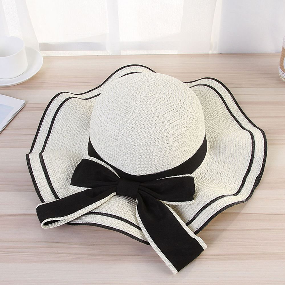 成人時尚荷葉邊大帽沿遮陽草帽-奶白