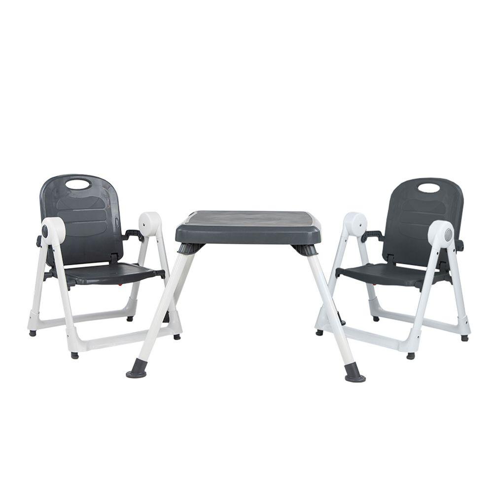 美國 ZOE - 兩椅一桌雙人組合-附白色小餐盤-奢華灰