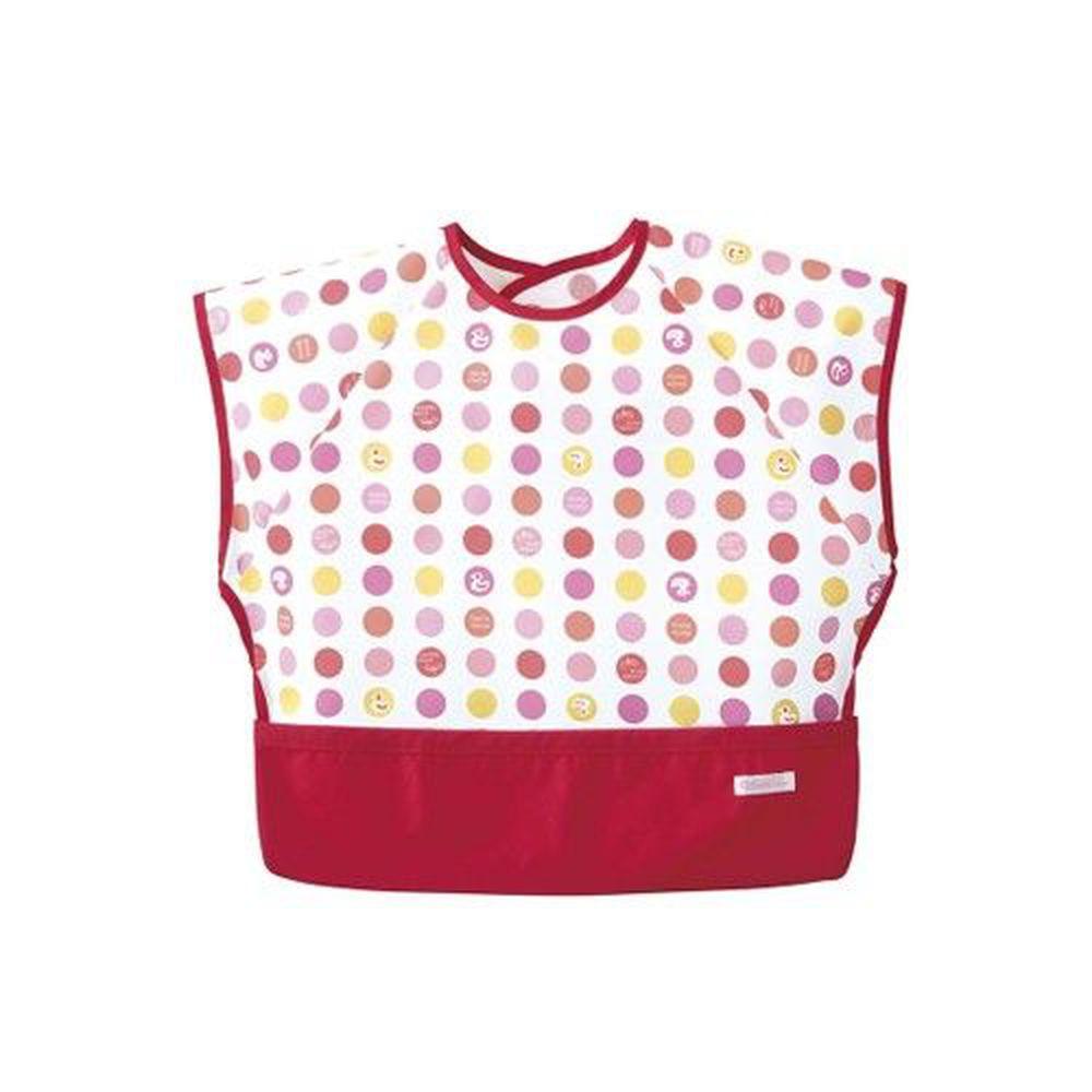 日本 Combi - mini 食事圍兜-短袖款-點點鴨-活力紅 (L [90-100cm])-12個月起