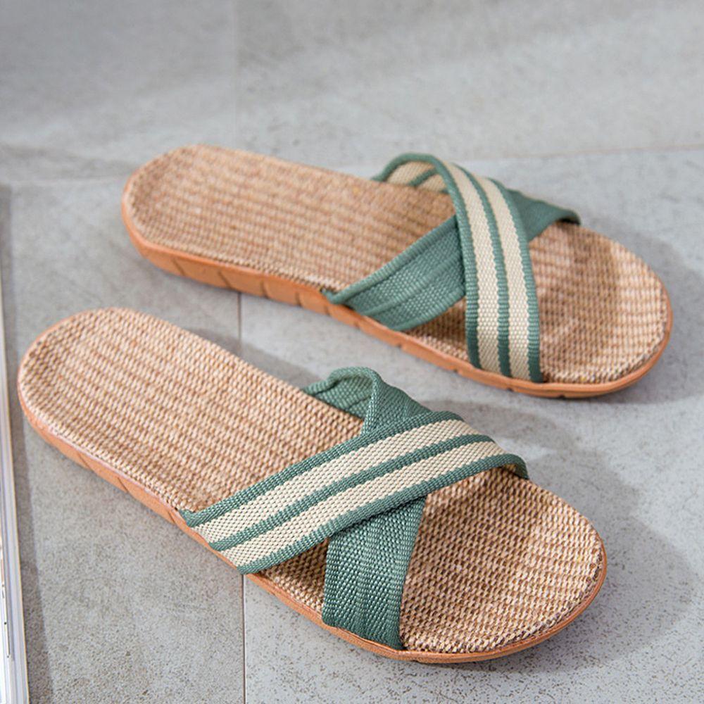 亞麻室內拖鞋-X型-草綠色