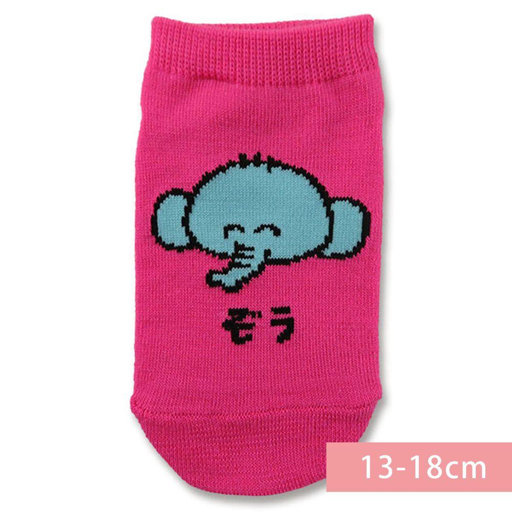 日本 OKUTANI - 童趣日文插畫短襪-大象-粉 (13-18cm(3-6y))