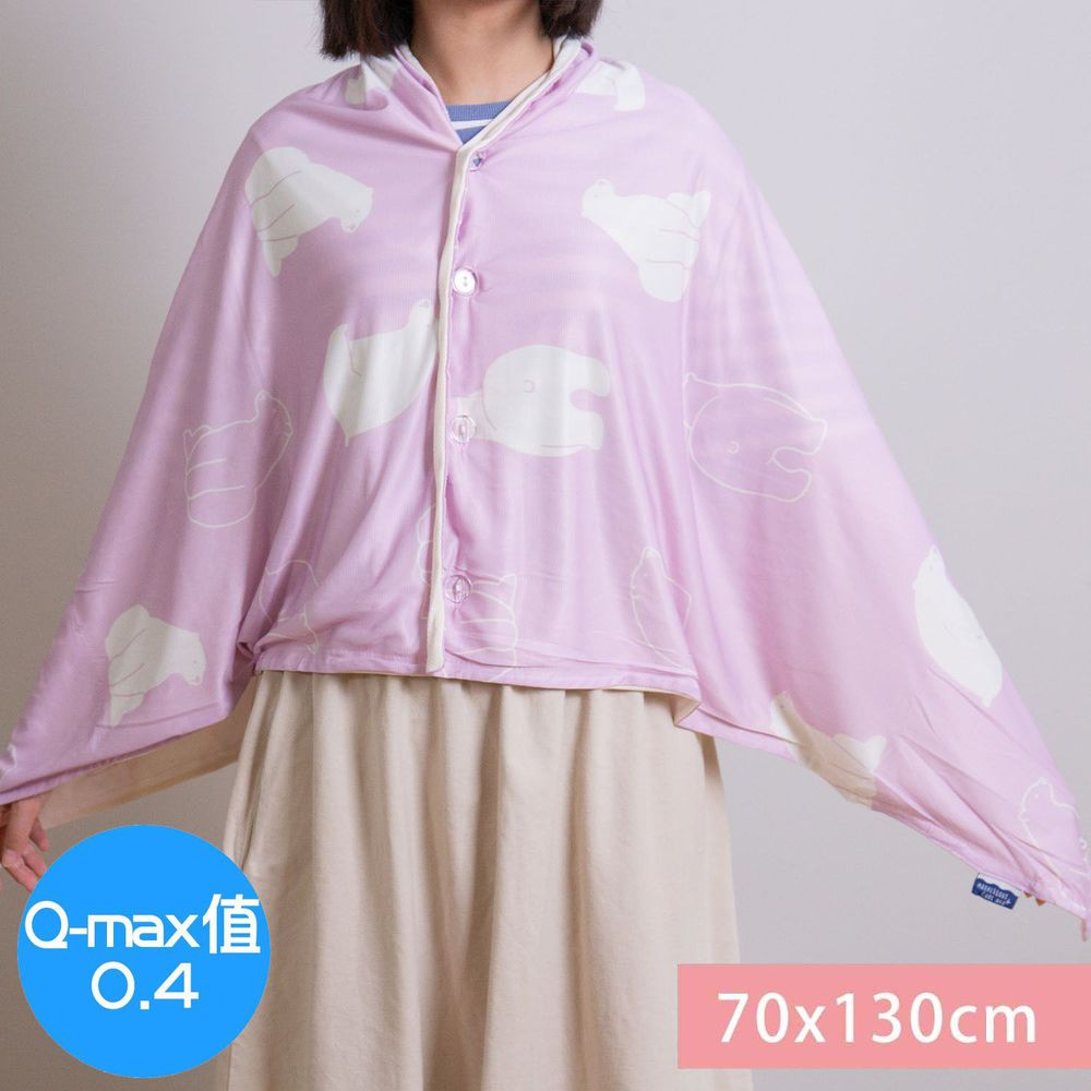 日本小泉 - 節電對策冷感薄毯 (附釦可作披肩)-北極熊20-粉紅 (70x130cm)