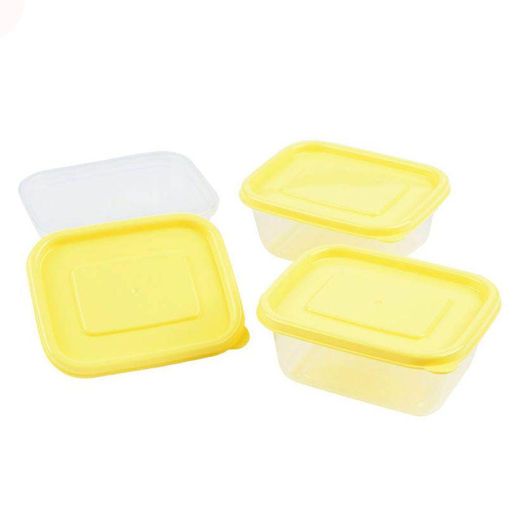 akachan honpo - 離乳食品保存容器-方形L號-黃色-3個入/150ml