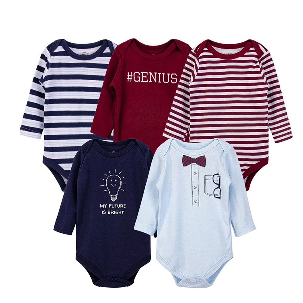 美國 Luvable Friends - 嬰幼兒100%純棉長袖包屁衣5件組-高雅領結