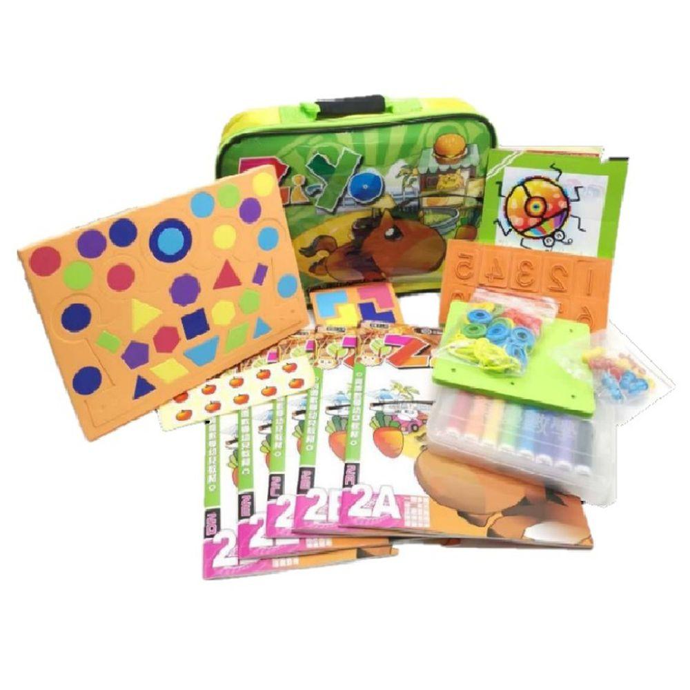 資優數學 - 親子金版2 小班下學期-綠色-馬/蝴蝶隨機出貨-5本練習本+教具+彩色版泡棉