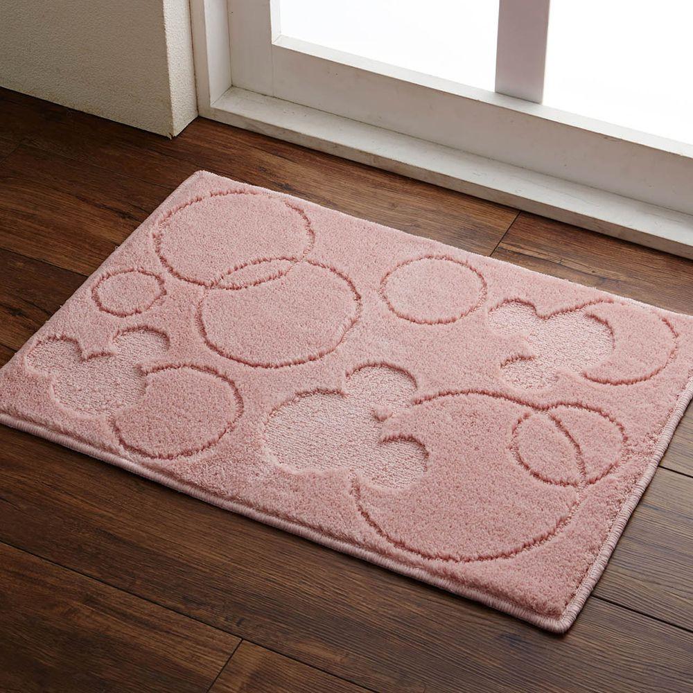 日本千趣會 - 日本製 迪士尼吸水速乾腳踏墊-米奇圈圈-粉