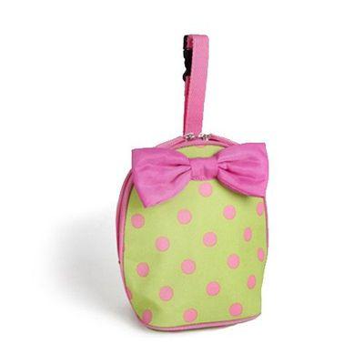 保溫保冷袋-附蝴蝶結-粉點綠