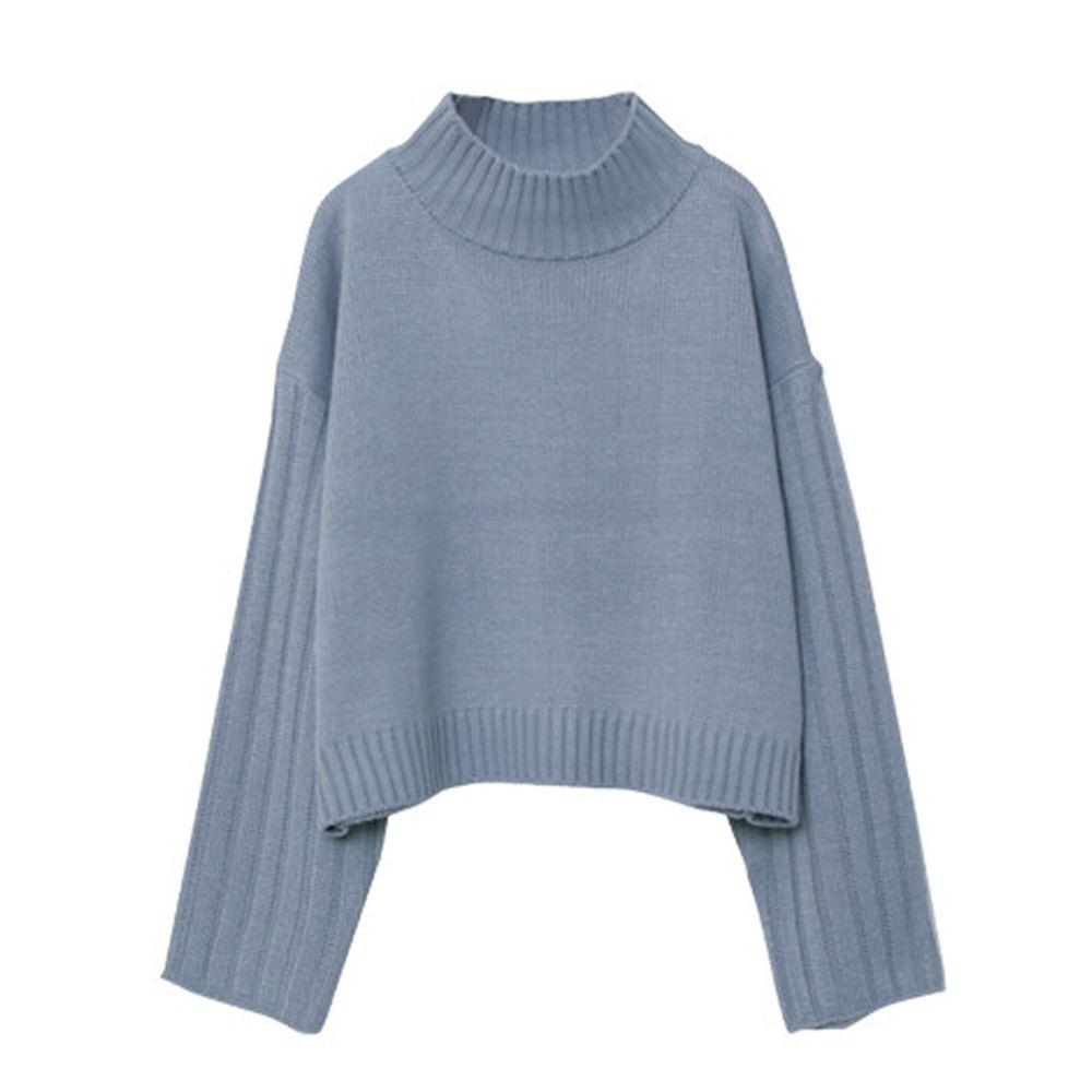 日本女裝代購 - 高領短版針織毛衣-灰藍 (M(Free size))