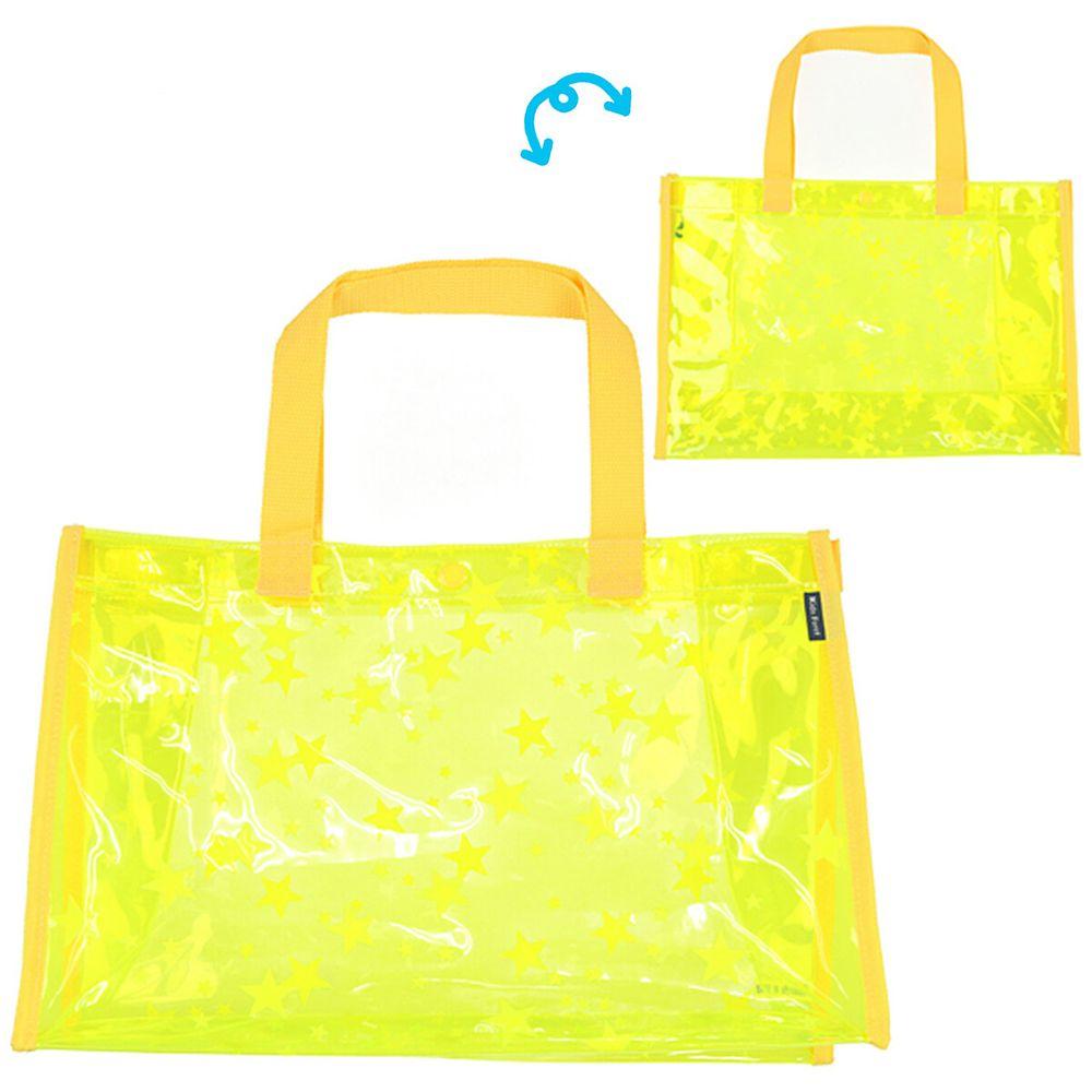 日本服飾代購 - 防水PVC游泳包(雙面圖案設計)-滿版星星-黃 (25x36x13cm)