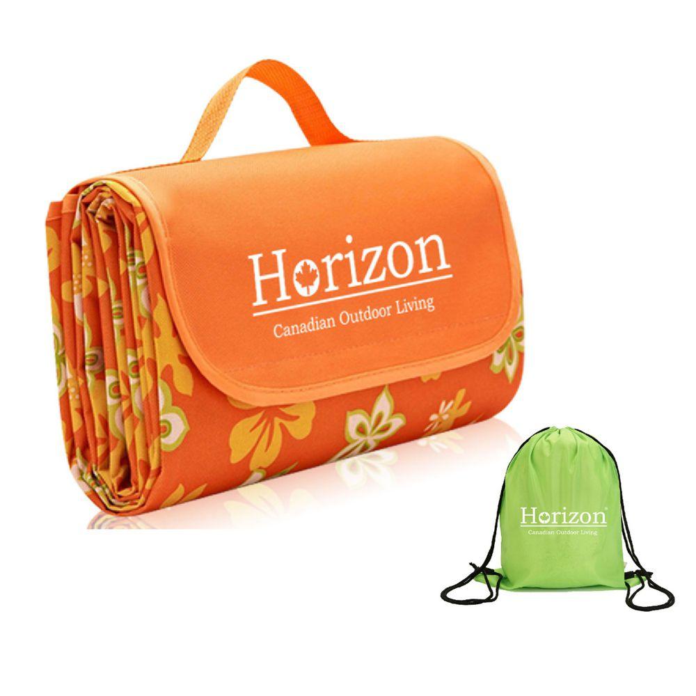 加拿大天際線 Horizon - 加大防潮沙灘野餐墊 - 附肩背收納袋-山櫻橘 (195x200cm)