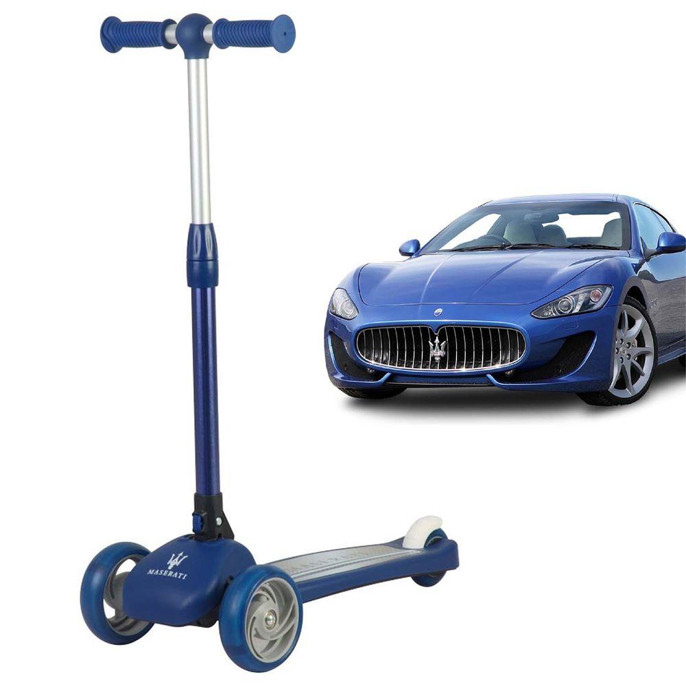 Maserati - 瑪莎拉蒂授權滑板車-藍色-(發光輪+可折疊)