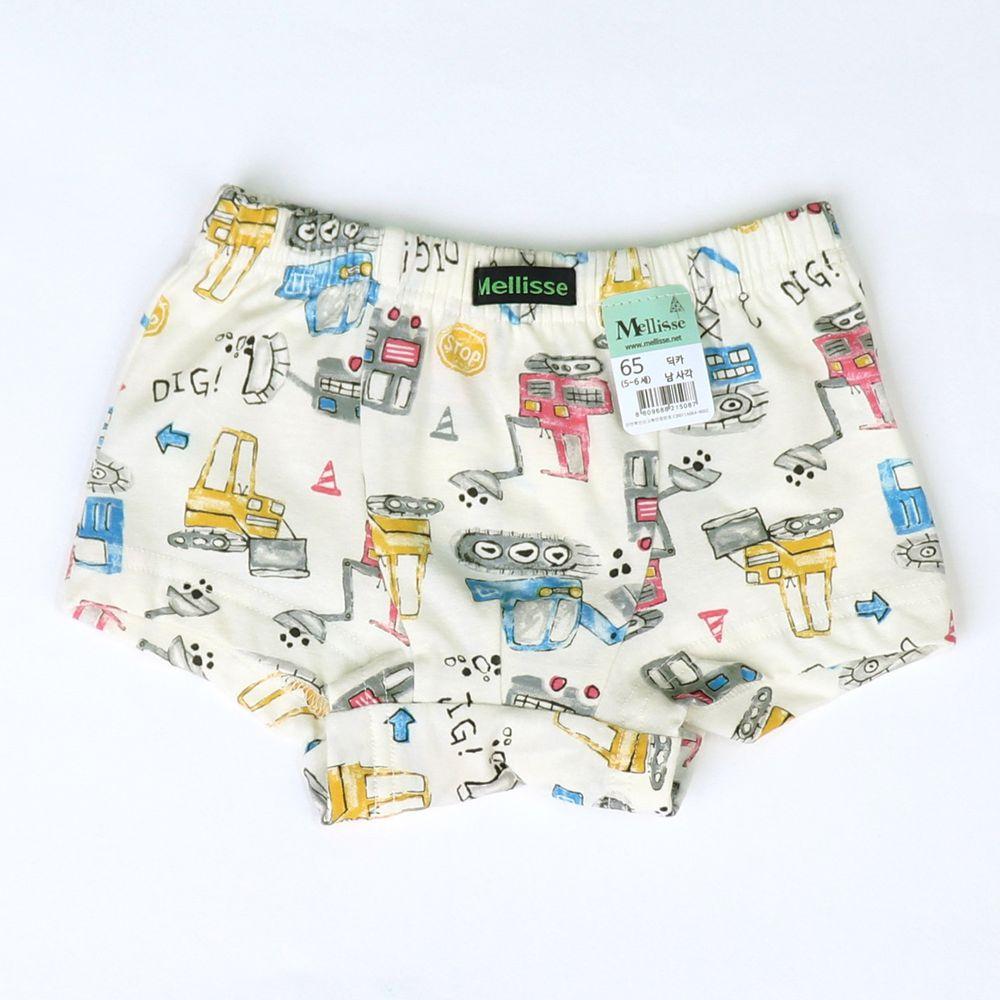 韓國 Mellisse - 純棉四角褲(男寶)-插畫挖土機