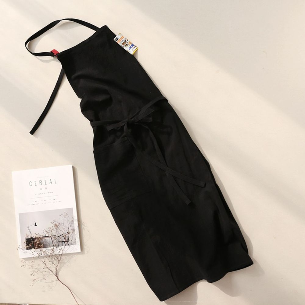 前繫帶純色棉麻圍裙-經典黑色
