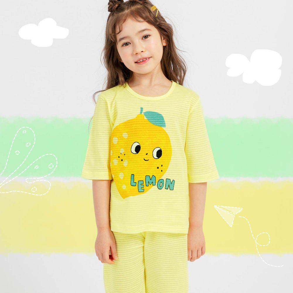 韓國 Mellisse - 韓製透氣輕薄7分袖家居服(無螢光棉)-黃色檸檬