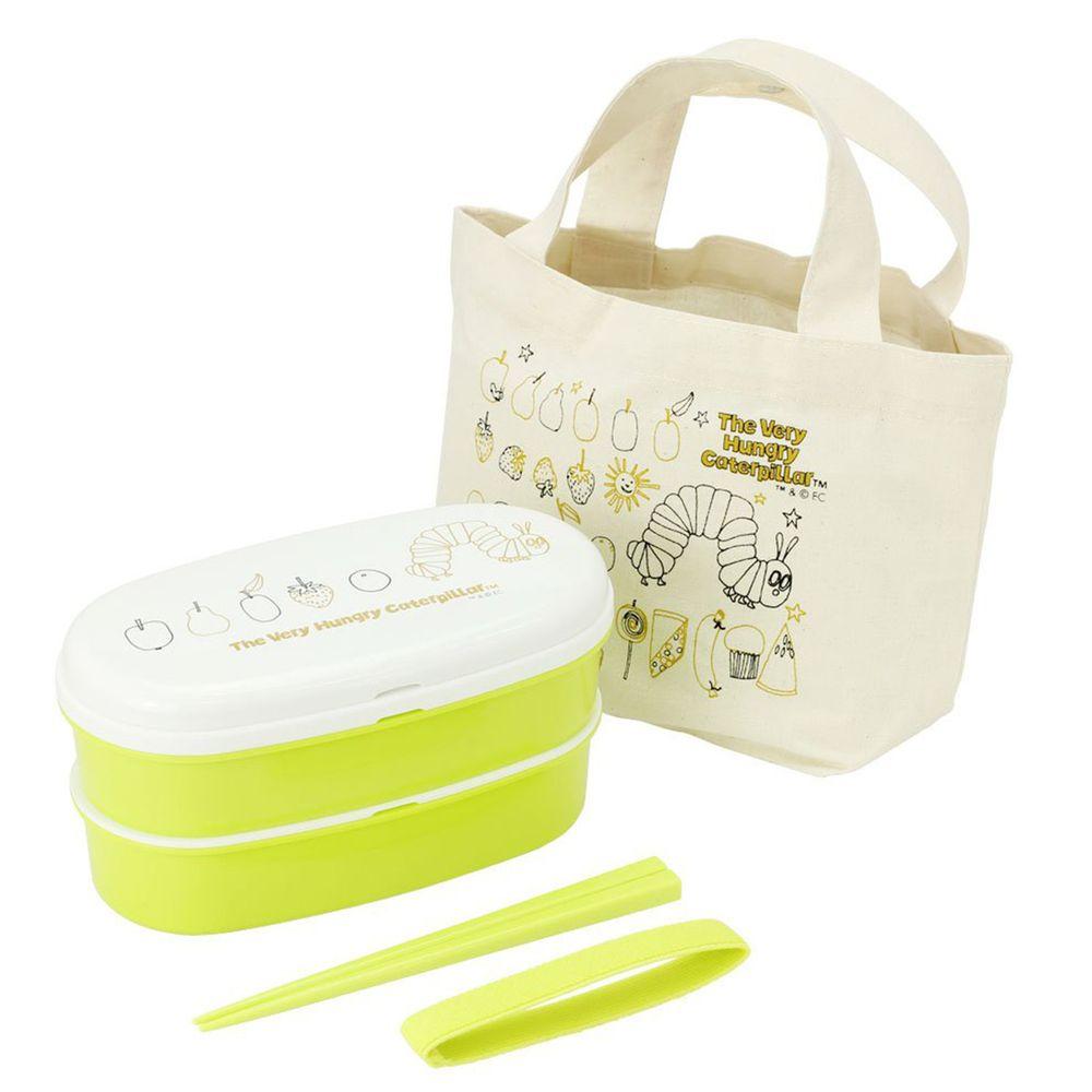 上誼文化 - 好餓的毛毛蟲雙層餐盒提袋組 (附筷子)