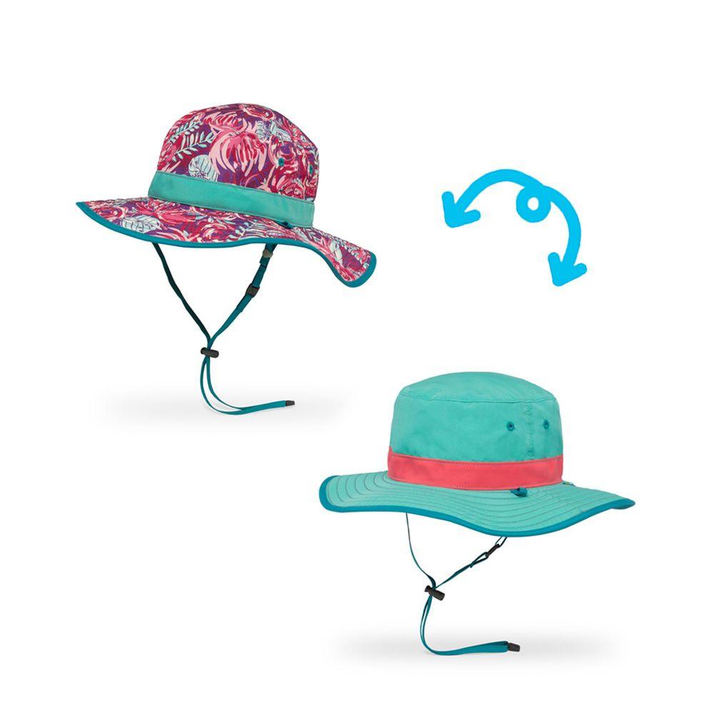 Sunday Afternoons - 兒童防曬帽-兒童抗UV雙面圓盤帽Kids Clear Creek Boonie-紫紅繁花
