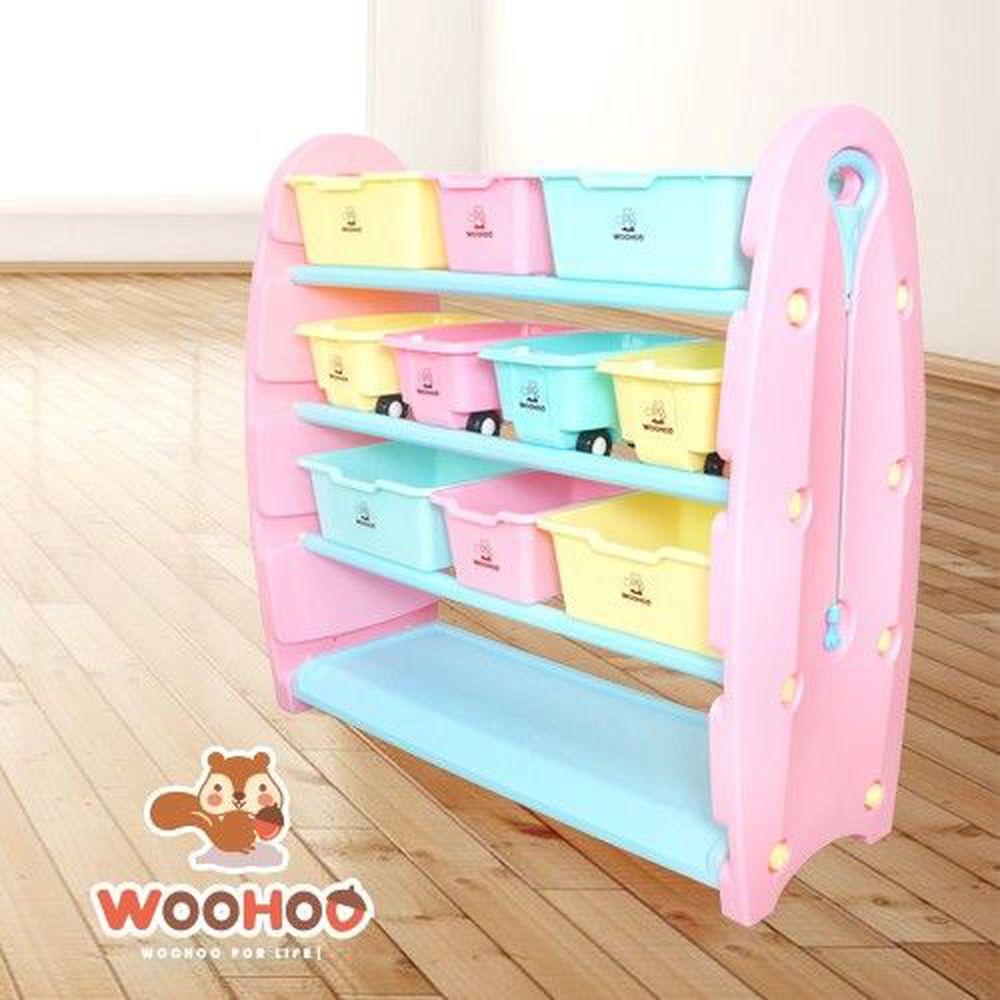 WOOHOO - 兒童玩具收納櫃-四層寬版-粉側板-含大小收納盒