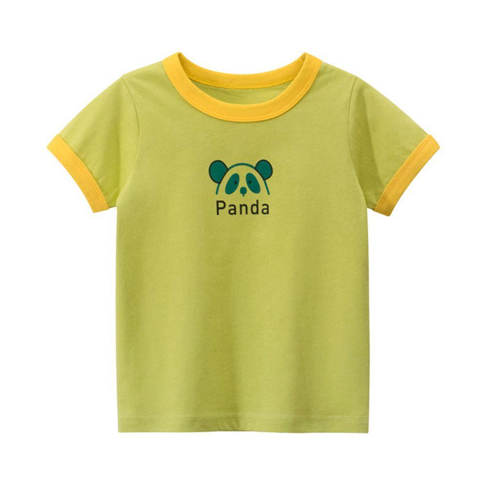 純棉短袖上衣-Panda貓熊-綠色
